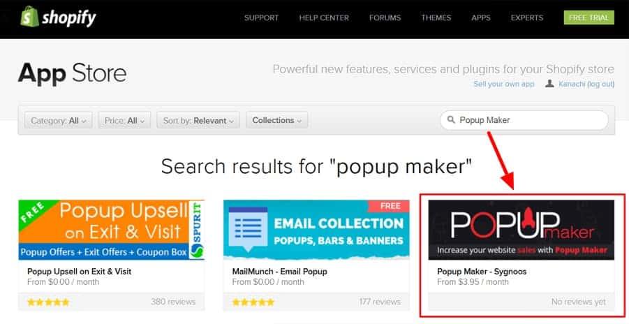 App Store Shopify Popup Maker
