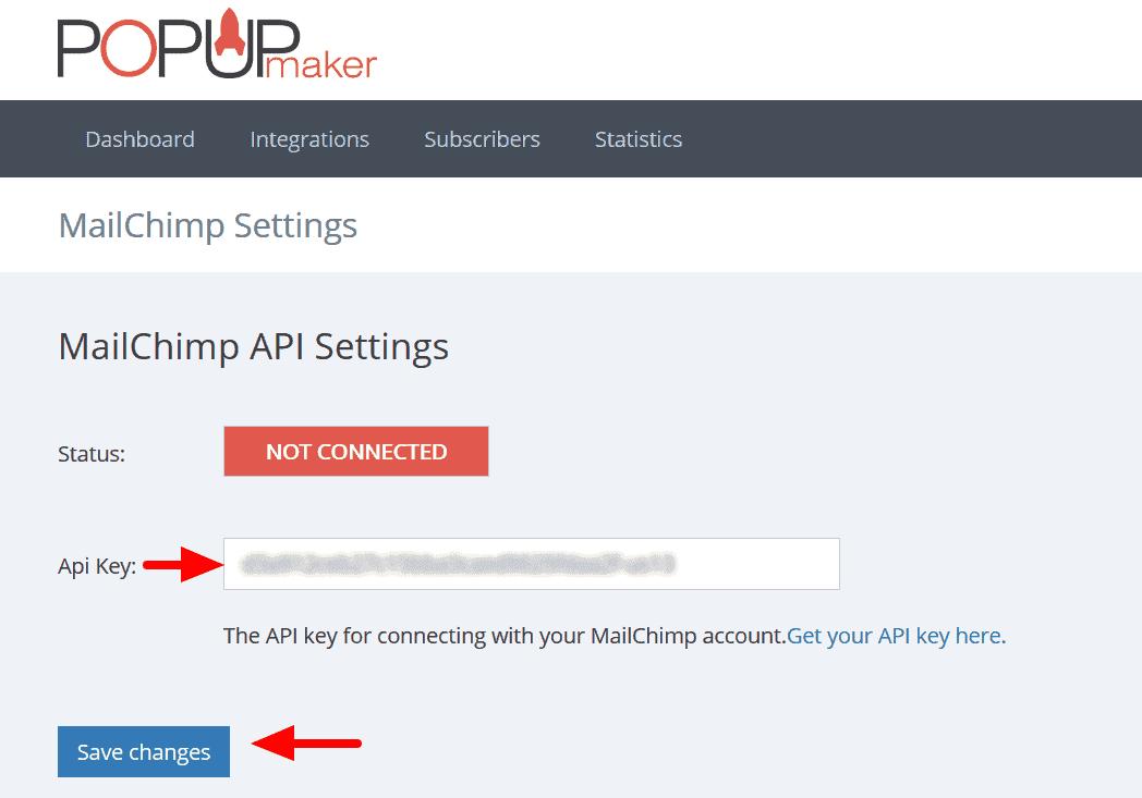 Mailchimp Popup API Settings