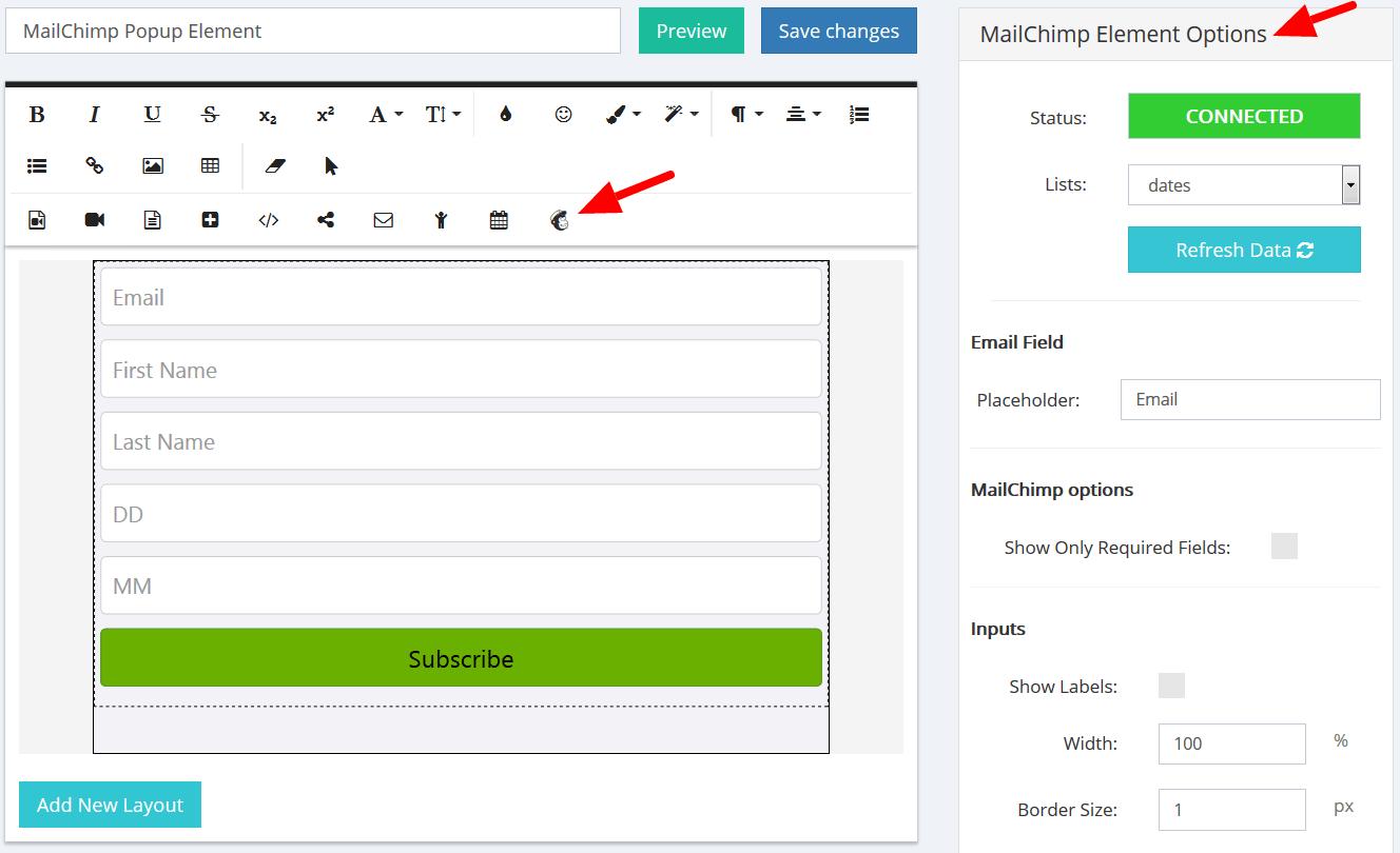 MailChimp Popup Element Options