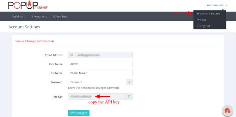 WordPress Popup Plugin API Key