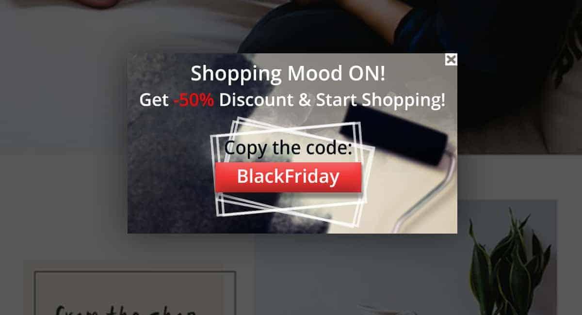 Black Friday popups coupon