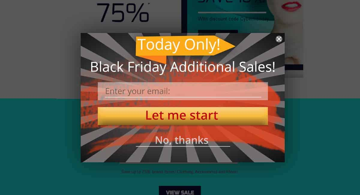 Black Friday subscription online popups