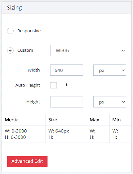 Responsive popups sizing options custom