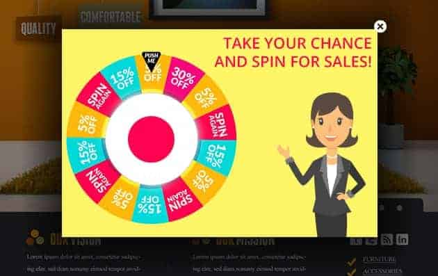 Spin-for-sales website popups