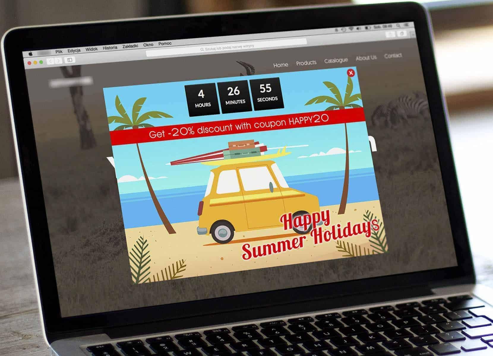 Countdown sales online popup
