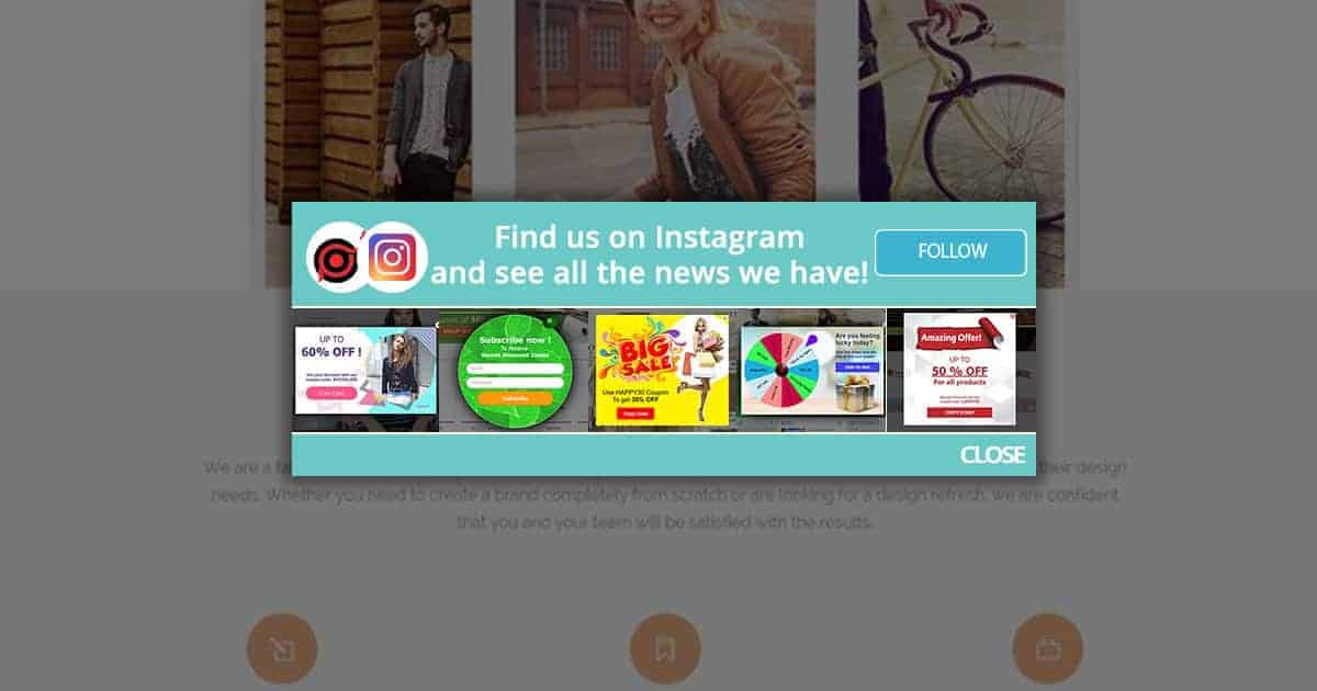 Instagram promotion popup types