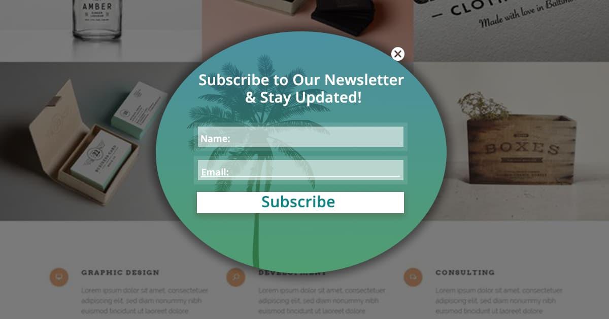 Newsletter update popup types