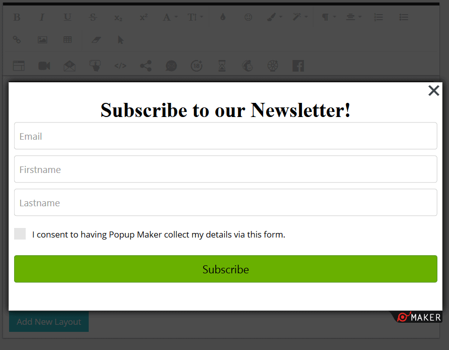 Popup Maker - GDPR Subscription Popup
