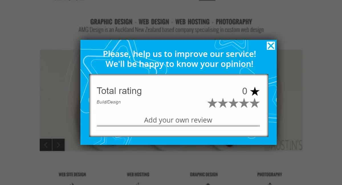 Improve our service feedback popup
