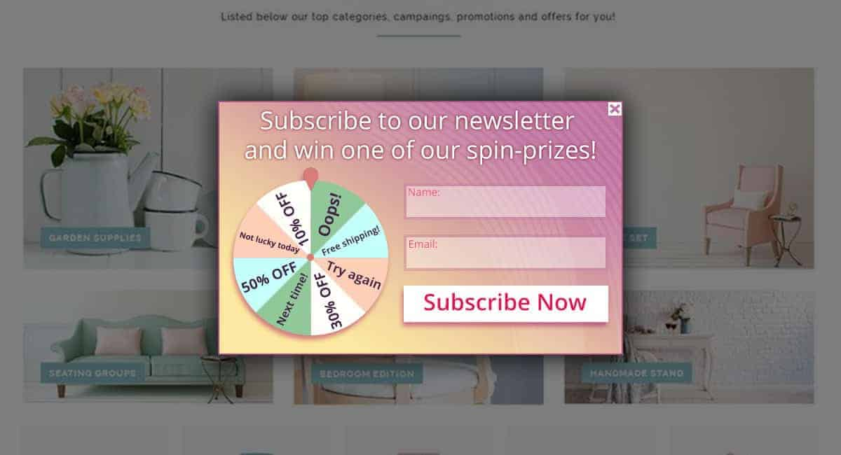 spin the wheel optin for email list