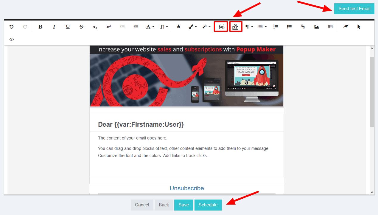 popup maker newsletter tool scheduling