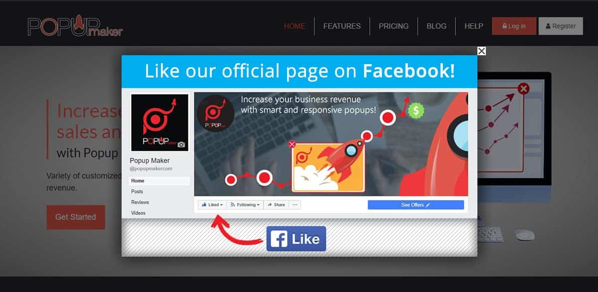 like our page request popup
