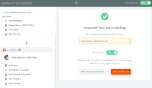 Popup Maker MailChimp zap Zapier
