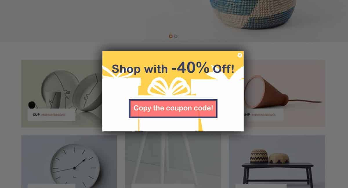 easy button popup coupon