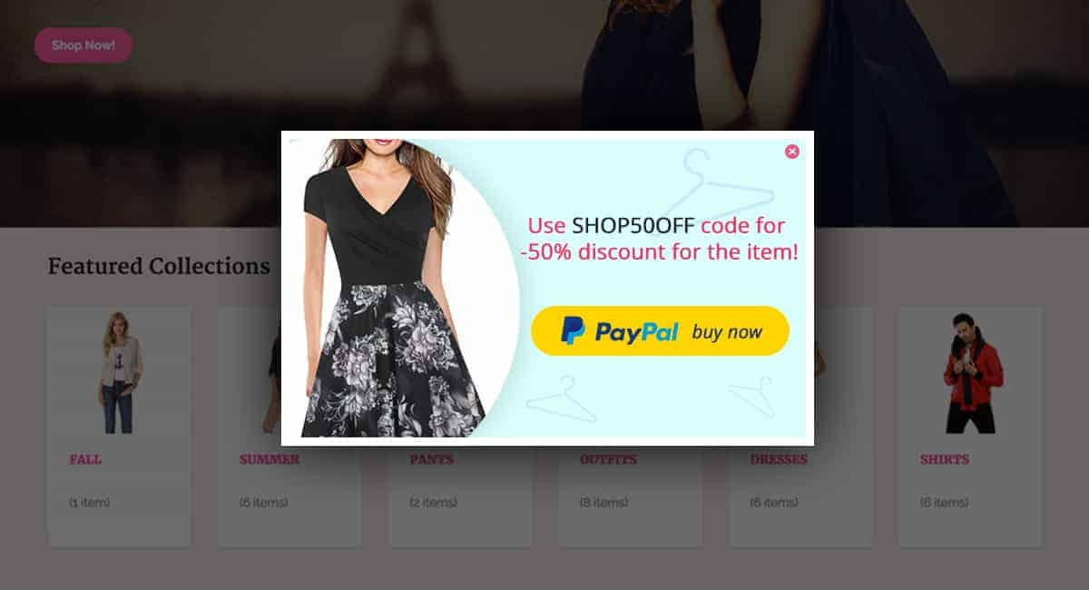 PayPal button popup coupon