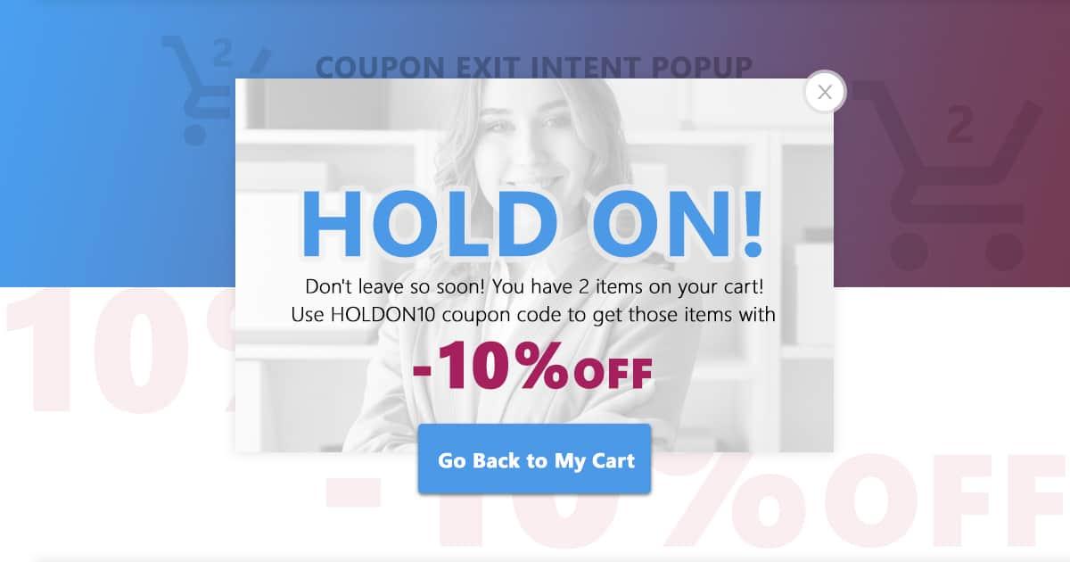 coupon exit popup 10% sales
