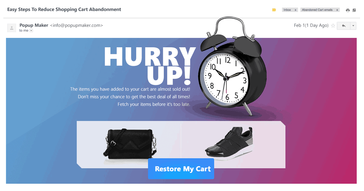 restore shopping cart abandonment popup