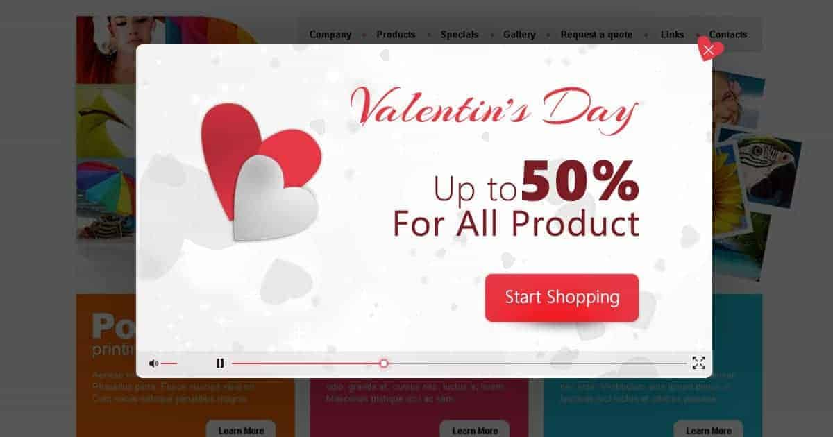 valentine's day popup video