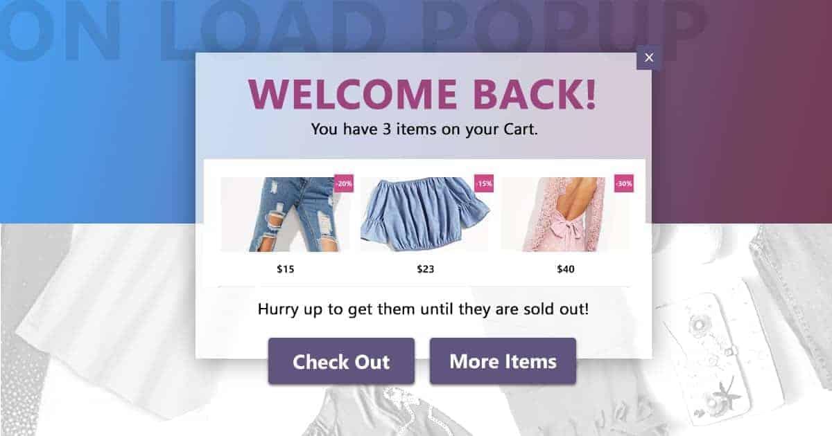 shopping cart abandonment welcoming reminder
