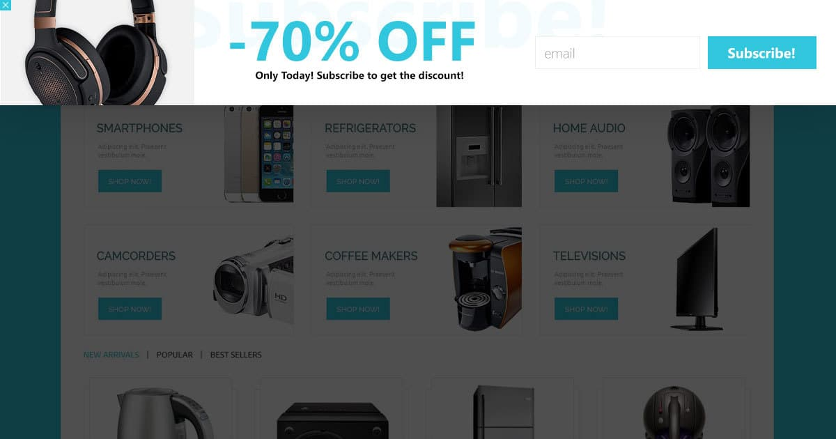 subscription discount popup banner