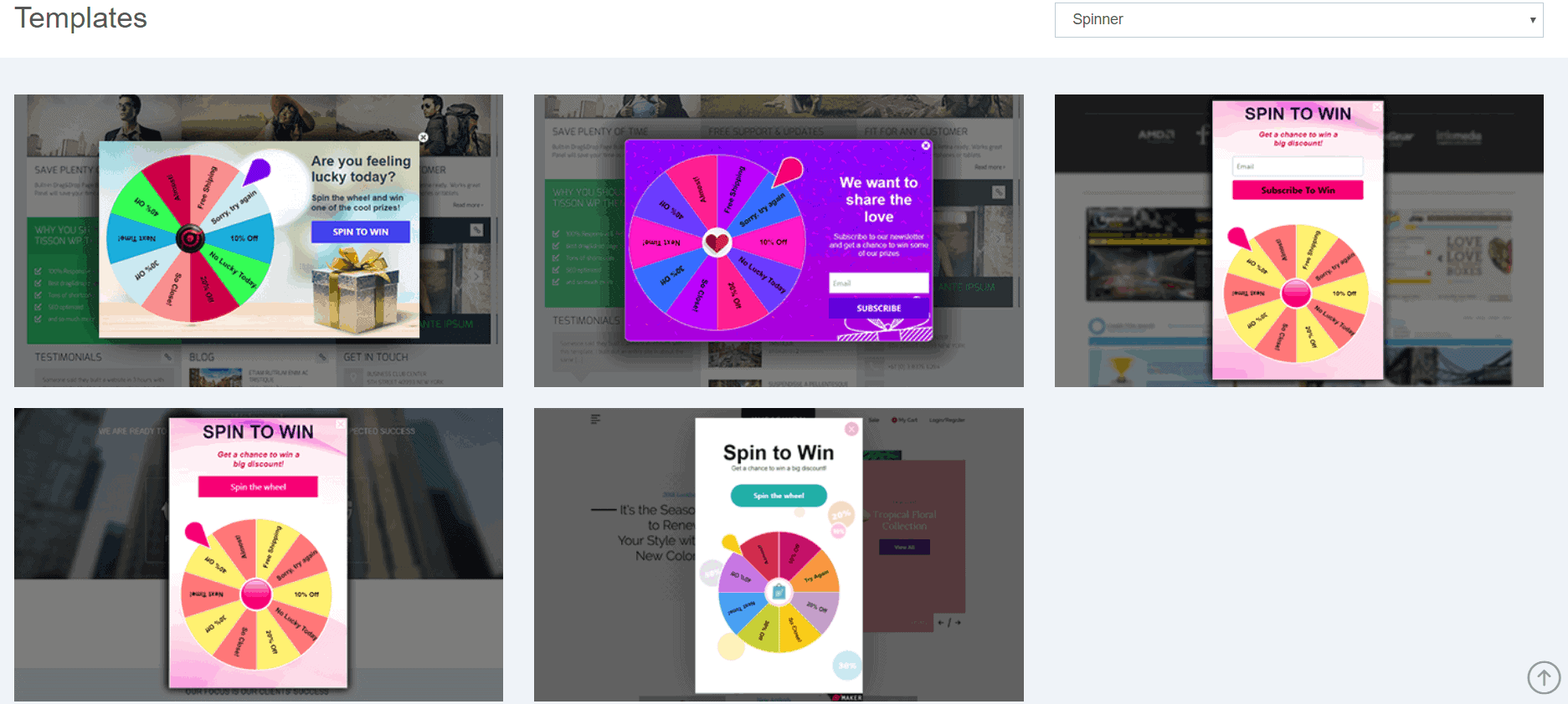 spin-to-win popup templates