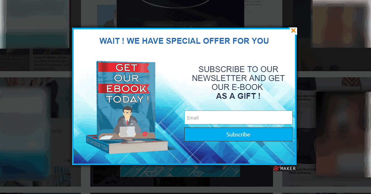 popup ebook subscription