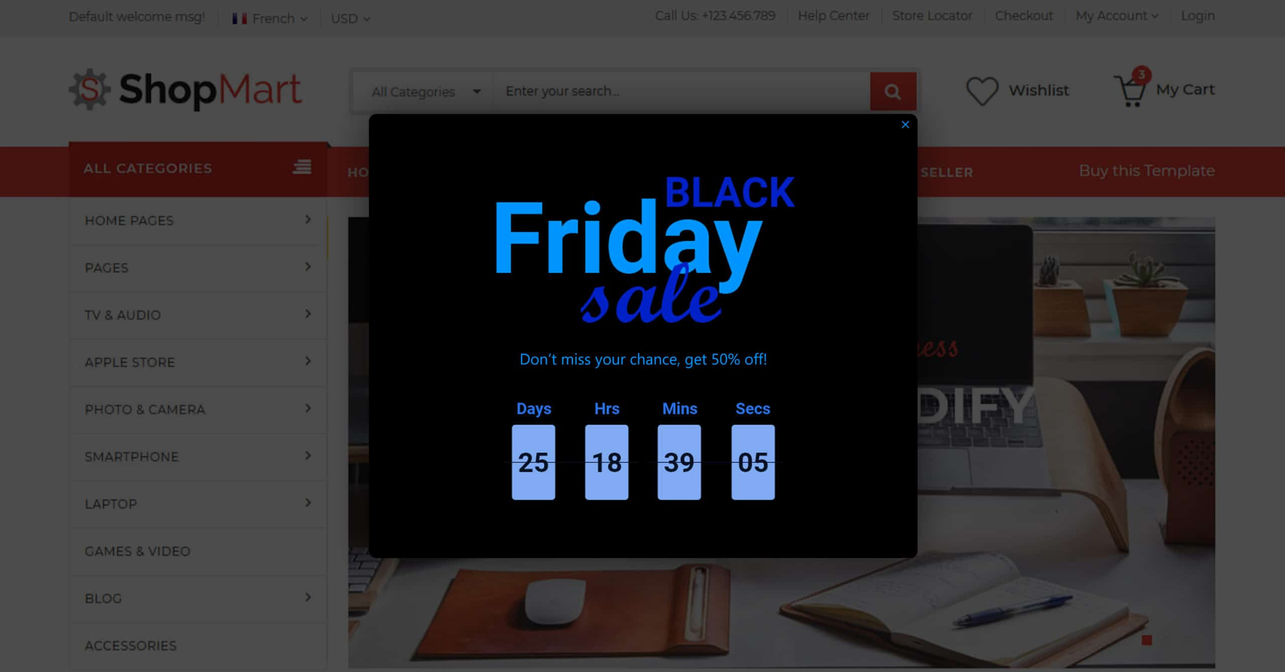 Ecommerce Black Friday ideas popup